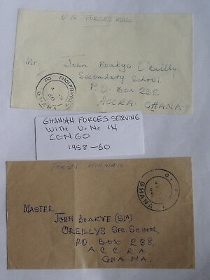 Ghanian Forces Serving With U.N. in Congo 1958-60 Covers Scarse Lot.
