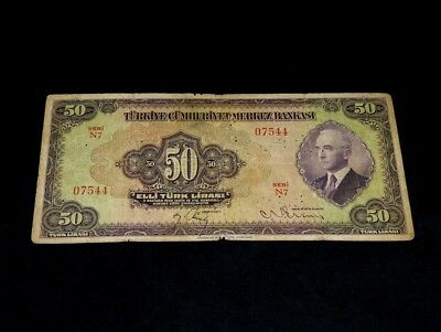 Turkey Turkish President Inonu 1930 ( 1942 ),50 Lira, P142s,