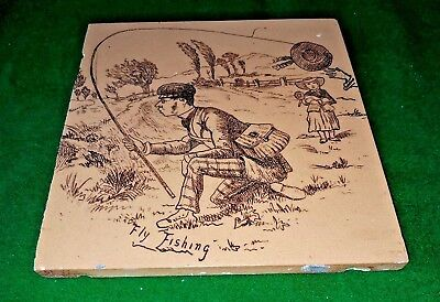 Genuine Victorian Antique Tile Humorous Fly Fishing Scene Sepia On Cream