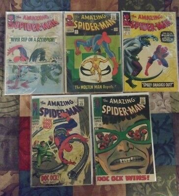 Amazing Spider-Man Silver Age Lot Issues 29, 35, 45, 53, 55 G - VG+