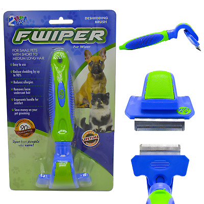 2PET Fwiper deShedding Grooming Brush for Small Medium & Large Dogs or Cats Blue