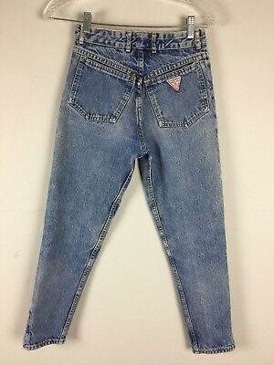 Vtg 80s 90s Guess ANKLE ZIPPER High Waisted Jeans Faded 25x26 Tapered Leg S 27