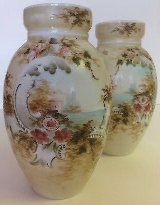 Vintage Matching PAIR of Hand Painted Opaque White Glass VASES #10 #12