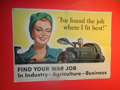 """Vintage Original 1943 WWII Poster """" I Found The Job Where I Fit Best!"""" (16 by 22"""