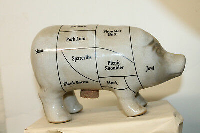 Vintage Style Porcelain Pig Piggy Bank Figurine With Country Butcher Cut Chart