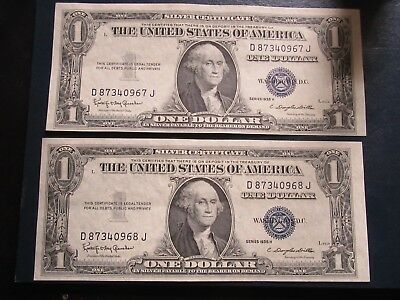Series 1935 H One Dollar Silver Certificate Blue Seal - Two Consecutive Bills