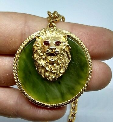 Vintage Lion Head Pendant Necklace with Green Stone Jade ? Background Gold Tone