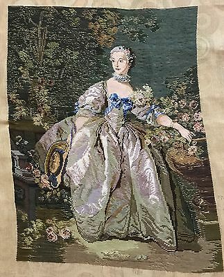 "ANTIQUE 19th FRENCH  PETITE POINT TAPESTRY 22"" X 29"", GOOD CONDITION!"