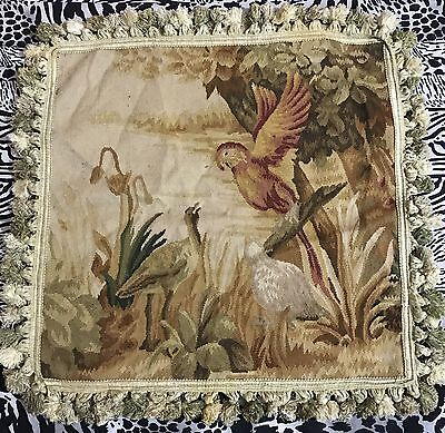 "ANTIQUE 19C AUBUSSON FRENCH HAND WOVEN TAPESTRY CUSHION 20"" By 20"""
