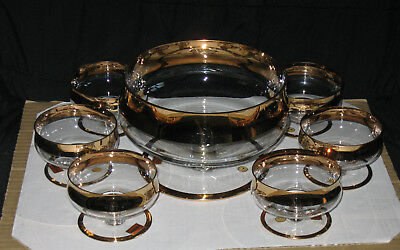 Avitra Crystal Gold Trimmed Punch Bowl With 6 Matching Glasses