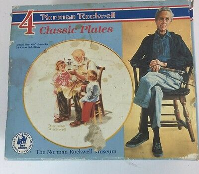 "1982 Vintage Set of 4 ""Beloved Classics"" Norman Rockwell 6.5"" Plates Boxed"
