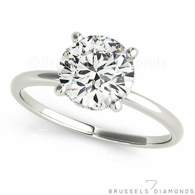 0.82 Ct Real DIAMOND Solitaire Engagement Ring H/SI2 Round Cut 14K White Gold
