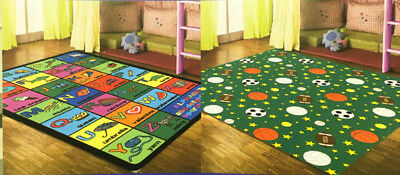 """Educational Reversible Hand Carved Double Sided Rug For Kids 5'3""""x7'2"""""""