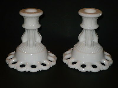 Vintage Westmoreland Pair Of Candle Holders Doric Lace Patttern *heavy-No Damage
