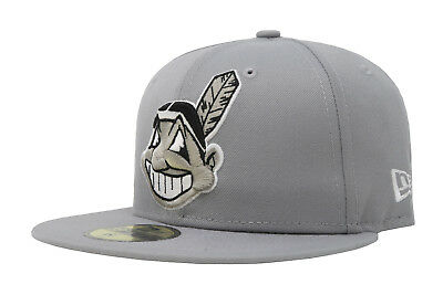 first rate 2c896 4e6b3 New Era 59Fifty Hat MLB Cleveland Indians Mens Womens Light Gray Fitted 5950  Cap