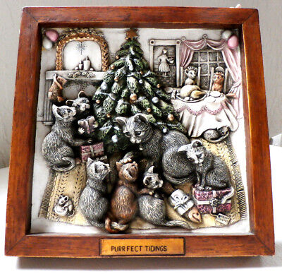 "Harmony Kingdom's 3D ""Purrfect Tidings"" Picturesque Series SOLO TALES CAT Tile"