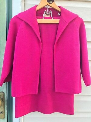 Vtg Saks Fifth Ave PINK Wool 2 Piece Suit Size 8 See Measurements