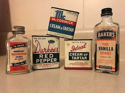 Vintage Mixed Lot of Spices Tins and Bottle of Bakers Vanilla Durkee McCormick