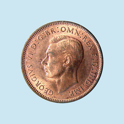 1944 Great Britain Farthing George VI KM# 843 Red Mint State RD MS+! Superb! $NR