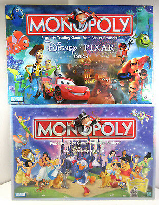Lot of 2 Monopoly Disney and Pixar Edition Collectable Board Game Sets