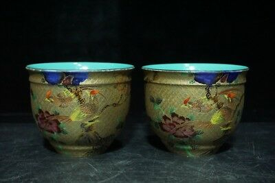 Chinese Exquisite Handmade Flower and Bird porcelain painting gold cup a pair