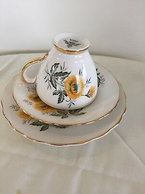 Delphine Bone China , cup saucer and plate trio, made in England
