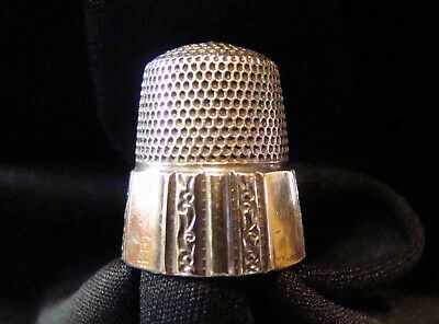 Simons Bros Sterling Silver Panel Scroll Thimble Size 12 Hallmarked