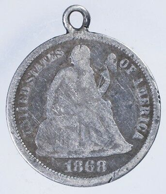 """1868 Seated Liberty Dime Fine Engraved """"Fred"""", Love Token"""