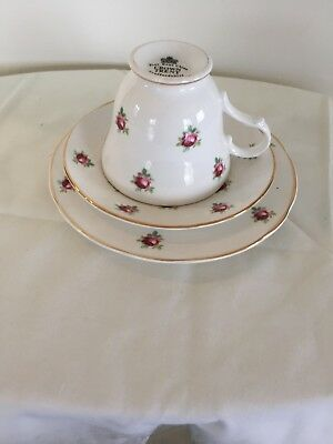 Crown Trent, Trio Roses, cup,saucer and plate,Staffordshire, Engalnd