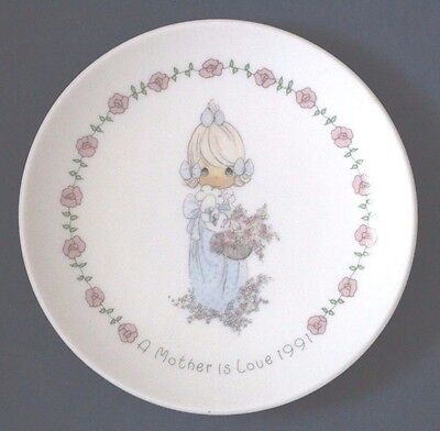 """Precious Moments A Mother Is Love 1991 small 4"""" plate Collector Gift for Mom"""