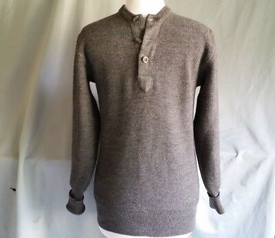 VINTAGE Grey WOOL SWEATER Henley Styled LISS 46
