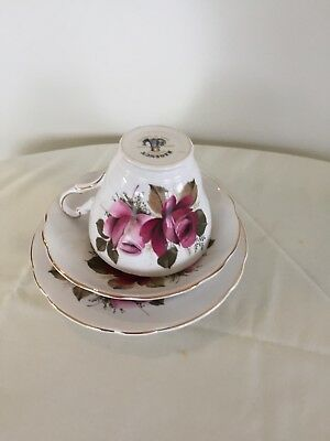 Regency trio, cup,saucer and plate, English bone china, rose design