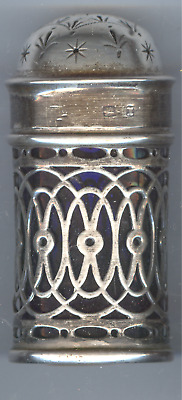 Antique Sterling Silver JCL Shaker With Cobalt Insert - 1897