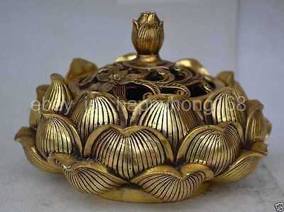 Chinese collectable statue lotus copper Incense burner d02