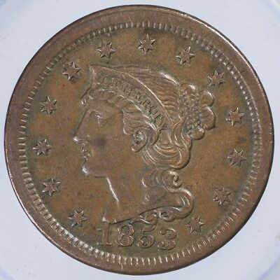 1853 Coronet Large Cent XF lightly cleaned reverse