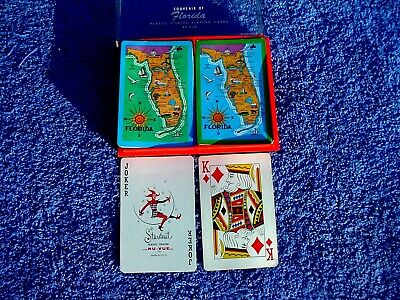 c KQQL Vintage 2 Deck Stardust Plastic Coated Nu Vue Tint Florida Playing Cards
