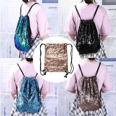 Lady Mermaid Sequins Bag Shoulder Glitter Sport Travel Drawstring Strap Backpack