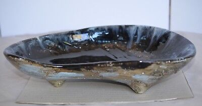 Vintage Signed Australian Pottery Large Unusual Shape Tri Footed Dish.