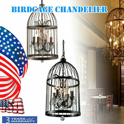 Vintage Rustic Birdcage Crystal Chandelier Iron anti-corrosion Pendant Light LED