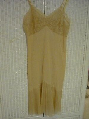 Vintage Vanity Fair Beige Color Full Slip with Pleated Bottom, Excellent Size 34