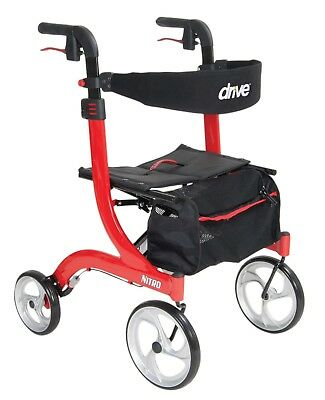 New Drive Medical Nitro Euro Style Red Rollator Walker RTL10266-H