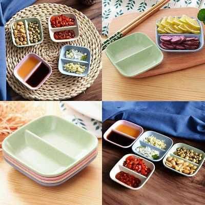 1x2 in 1 Square Eco-friendly Wheat Straw Snack Plate Seasoning Sauce Dish 9*9cm*