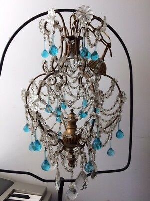 Antique Vintage Crystal Macaroni Beaded Murano Drop Chandelier Italian iron gilt