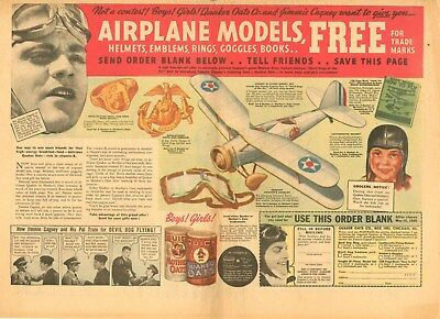 Jimmie Cagney  -  Quaker Oats - Devil Dogs of the Air  - Premium Ad    - 1935