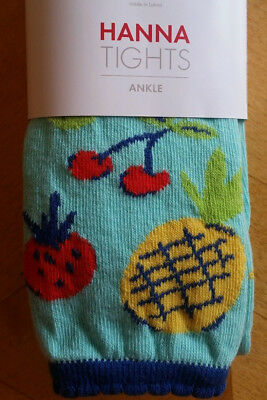 Nwt Hanna Andersson Cotton Fun Fruit Footless Ankle Tights 90 100  3 4