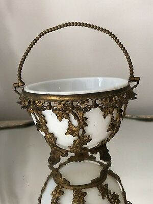 Antique FRENCH Gold Gilt Grape Ormolu Basket Bon Bon Sugar Opaline Opaque Glass