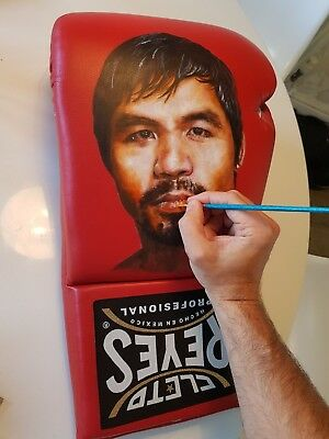 Hand painted Giant Cleto Reyes glove by Jay Connolly, signed by Manny Pacquiao