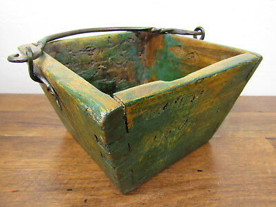 """Wooden Rustic Vintage Asian Chinese Rice Berry Bucket w/Iron Handle 7.5"""" x 4.5"""""""