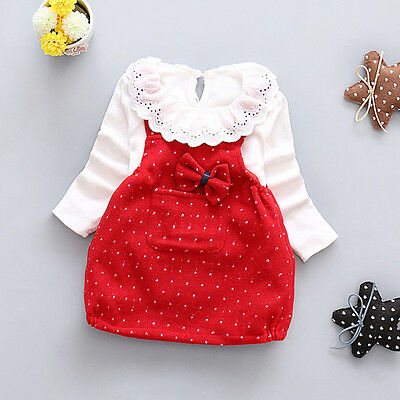 Toddler Baby Girls Outfits T shirt tops+Braces dress Kids Party Clothes Set