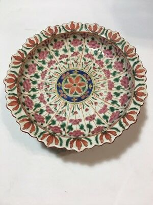 """19C Chinese Porcelain Thai Bencharong 8 1/2"""" Tazza Footed Plate Lotus Pink NR"""